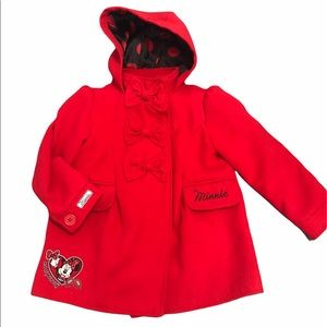 Disney Red Minnie Mouse Peacoat, size 4T